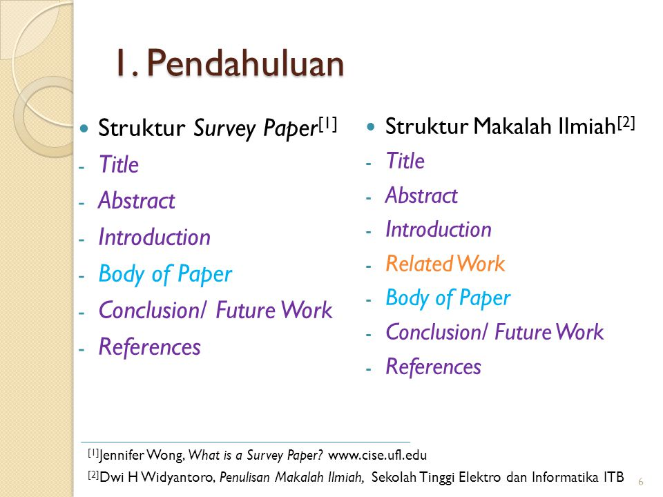 1. Pendahuluan Struktur Survey Paper[1] Title Abstract Introduction